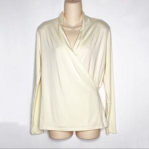 Lauren Ralph Lauren | Cream Faux Wrap Long Sleeve